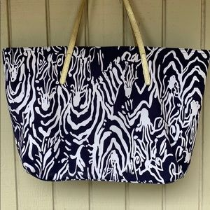 Lilly Pulitzer Bags - Lilly Pulitzer zebra print navy and white tote bag